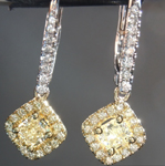 SOLD....Diamond Earrings: .77cts Y-Z Radiant Cut Diamond Halo Earrings R6619