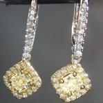 SOLD....Diamond Earrings: .77cts Y-Z Radiant Cut Diamond Halo Earrings R6619