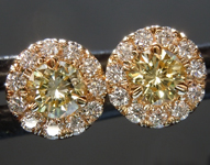 Diamond Earrings: .42cts Fancy Yellow Round Brilliant Diamond Halo Earrings GIA R6601