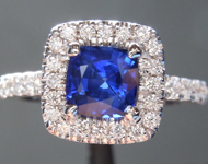 Sapphire Ring: .85ct Blue Cushion Cut Sapphire and Diamond Halo Ring R6658