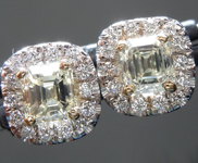 Yellow Diamond Earrings: 1.13cts Y-Z VS Emerald Cut Diamond Halo Earrings R6660