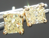 SOLD...Yellow Diamond Earrings: .62ctw Natural Yellow Radiant Cut Diamond Stud Earrings R4630