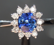 SOLD....Sapphire Ring: .83ct Blue Cushion Cut Sapphire and Diamond Halo Ring R6671