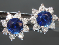 SOLD.........Sapphire Earrings: .78cts Blue Round Brilliant Sapphire and Diamond Halo Earrings R6693