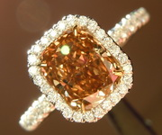 SOLD...Diamond Ring: 1.31ct Fancy Orange Brown VS2 Cushion Cut Diamond Halo Ring GIA R6692