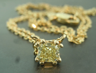 SOLD......Yellow Diamond Necklace: .42ct Fancy Light Yellow Radiant Cut Diamond Pendant R6644
