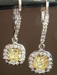 SOLD...Yellow Diamond Earrings: .94cts Fancy Yellow Radiant Cut Diamond Halo Earrings GIA R6603