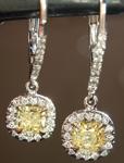 SOLD...Yellow Diamond Earrings: .94cts Fancy Yellow Radiant Cut Diamond Halo Earrings GIA R6603