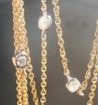 Bezel Diamond Necklace- 10 Old Mine Brilliant Antique Diamonds 18kt Gold 28 inch R6565