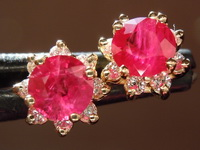 Ruby Earrings: 1.23ctw Round Ruby and Diamond Halo Earrings R6657