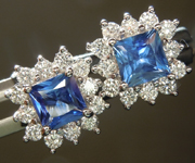 0.95cts Blue Princess Cut Sapphire Earrings R6681