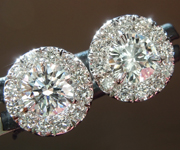 SOLD.......Diamond Earrings: .74cts F-G Round Brilliant Diamond Halo Earrings R6747