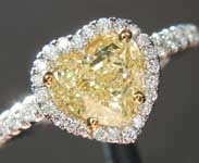 Yellow Diamond Ring: 1.01ct Fancy Light Yellow SI1 Heart Shape Diamond Halo Ring GIA R6738