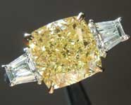 Yellow Diamond Ring: 3.01ct Fancy Yellow VS2 Cushion Cut Diamond Ring GIA R6742
