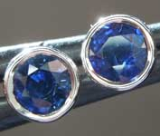 Sapphire Earrings: .78ctw Blue Round Brilliant Sapphire Earrings R6717