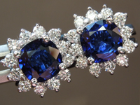 SOLD....Sapphire Earrings: 1.51cts Blue Cushion Cut Sapphire and Diamond Halo Earrings R6680
