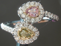 Diamond Ring: .23cts Natural Pink and Green Pear Shape Diamond Halo Bypass Ring GIA R6610