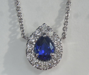 Sapphire Necklace: .78ct Blue Pear Shape Sapphire and Diamond Halo Pendant AGL R6691