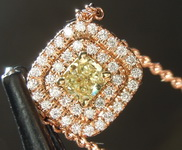 SOLD....Diamond Pendant: .39ct Fancy Yellow SI2 Cushion Cut Diamond Halo Pendant R6704