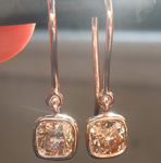 SOLD...Diamond Earrings: 1.12ctw Fancy Yellow Brown SI Cushion Cut Diamond Earrings R6736