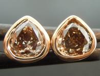 SOLD...Diamond Earrings: .75ctw Fancy Yellowish Brown SI1 Pear Shape Diamond Earrings R6722