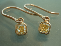 SOLD...Yellow Diamond Earrings: .63ctw Fancy Yellow SI1 Cushion Cut Diamond Dangle Earrings R6707