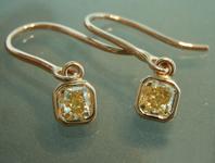 SOLD...Yellow Diamond Earrings: .63ctw Fancy Yellow SI1 Cushion Cut Diamond Dangle Earrings R6707