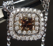 Diamond Pendant: .34ct Fancy Brown VS Cushion Cut Diamond Halo Pendant R6413