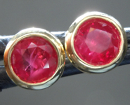 Ruby Earrings: 1.21ctw Round Brilliant Ruby Stud Earrings R6807