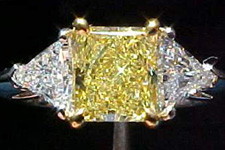 SOLD....Three Stone Diamond Ring - GIA Fancy Intense Yellow Diamond Ring w/trilliants TRADE UP SPECIAL R551