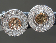 SOLD...Brown Diamond Earrings: .41cts Fancy Brown Round Brilliant Diamond Halo Earrings R6790