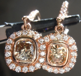 Brown Diamond Earrings: 1.05cts Fancy Brownish Yellow VS2 Cushion Cut Diamond Halo Earrings R6821
