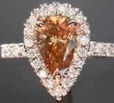 Diamond Ring: 1.11ct Fancy Orange Brown SI1 Pear Brilliant Diamond Ring GIA R6745