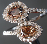 Diamond Ring: .42cts Fancy Orange Brown SI1 Pear Shape Bypass Ring R6820