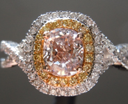 SOLD.....Pink Diamond Ring: .61ct Fancy Pinkish Brown VS1 Cushion Cut Diamond Ring GIA R6949