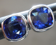 Sapphire Earrings: 1.70ctw Blue Cushion Cut Sapphire Earrings R6825