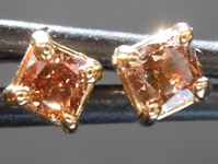 SOLD.....Brown Diamond Earrings: .36ctw Fancy Deep Brown SI1 Cushion Cut Diamond Stud Earrings R6412