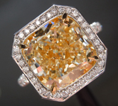 SOLD........Yellow Diamond Ring: 5.01ct W-X VS2 Cushion Modified Brilliant Diamond Halo Ring GIA R6894