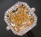 Yellow Diamond Ring: 5.01ct W-X VS2 Cushion Modified Brilliant Diamond Halo Ring GIA R6894