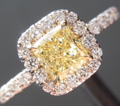 Yellow Diamond Ring: .69ct Fancy Yellow VS2 Cushion Modified Brilliant Diamond Halo Ring GIA R6877