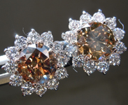 Diamond Earrings: 2.45cts Fancy Dark Orangy-Yellow Brown I1 Round Brilliant Diamond Halo Earrings R6855
