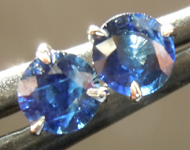 Sapphire Earrings: .74ctw Blue Round Brilliant Sapphire Earrings R6827