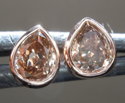 SOLD...Brown Diamond Earrings: .60ctw Fancy Brownish Yellow SI1 Pear Shape Diamond Stud Earrings R6829