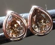 Brown Diamond Earrings: .62ctw Fancy Brownish Yellow I1 Pear Shape Diamond Stud Earrings R6830