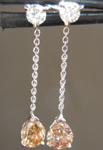 SOLD...Diamond Earrings: .64cts Fancy Brownish Yellow SI2 Pear Shape Diamond Dangle Earrings R6856