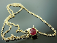 SOLD....Ruby Necklace: .68ct Round Brilliant Ruby Necklace R6826