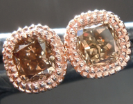 Brown Diamond Earrings: .60ctw Fancy Orangy Brown SI1 Cushion Cut Diamond Earrings R6990