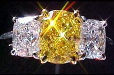SOLD....Three Diamond Ring- VIVID Yellow Cushion Ring R1298