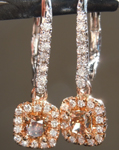 0.61cts Orangy Brown SI1 Cushion Cut Diamond Earrings R6943