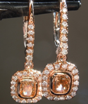 Brown Diamond Earrings: .71cts Fancy Yellow Brown VS1 Cushion Cut Diamond Halo Earrings R6942